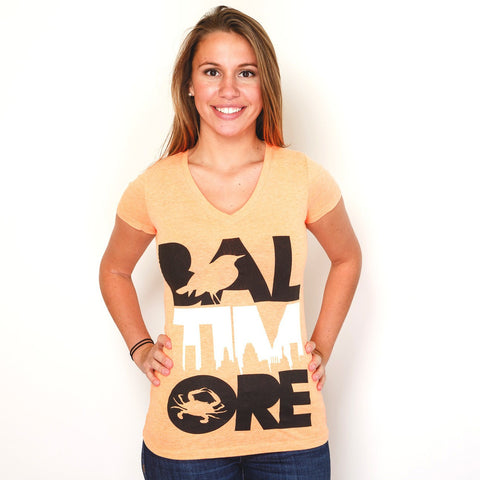 Baltimore Icon Orange & White (Orange) / Ladies V-Neck Shirt - Route One Apparel