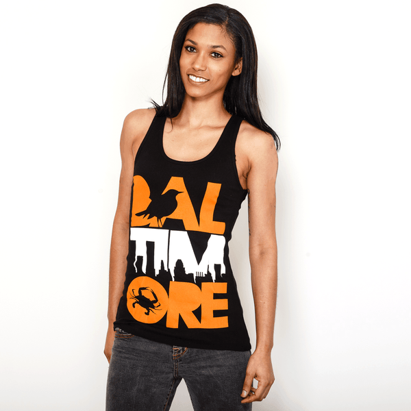 Baltimore Icon Orange & White (Black) / Ladies Ribbed Tank