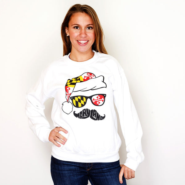 Holiday Maryland Mustache (White) / Crew Sweatshirt
