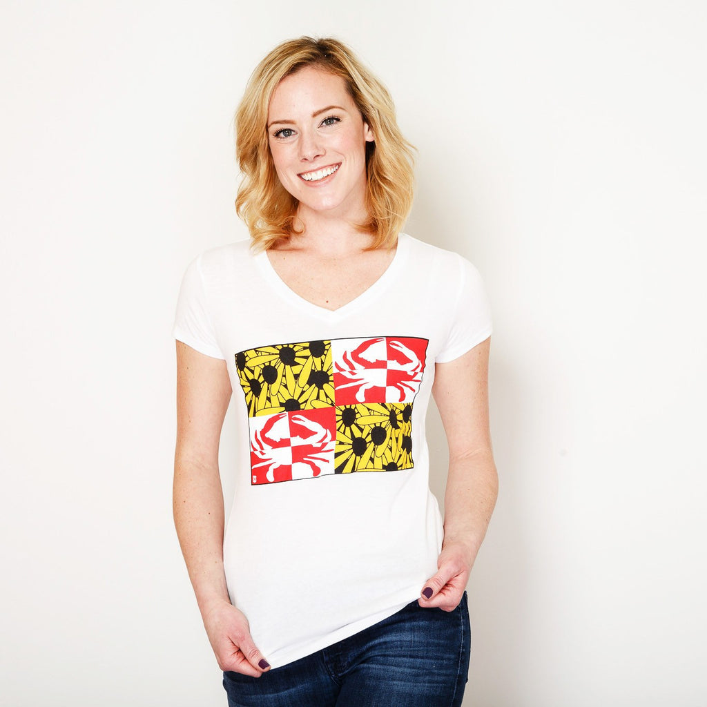 Crabby Susan Maryland (White) / Ladies V-Neck Shirt - Route One Apparel