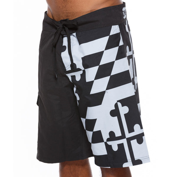 Greyscale Maryland Flag / Board Shorts