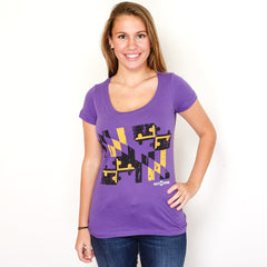 Baltimore Purple & Gold Maryland Flag / Ladies Scoop Neck Shirt - Route One Apparel