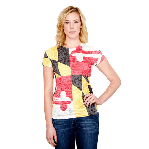 Maryland Flag Fitted Burnout *Vintage* / Ladies Shirt