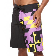 Baltimore Football Purple & Gold Maryland Flag / Board Shorts - Route One Apparel