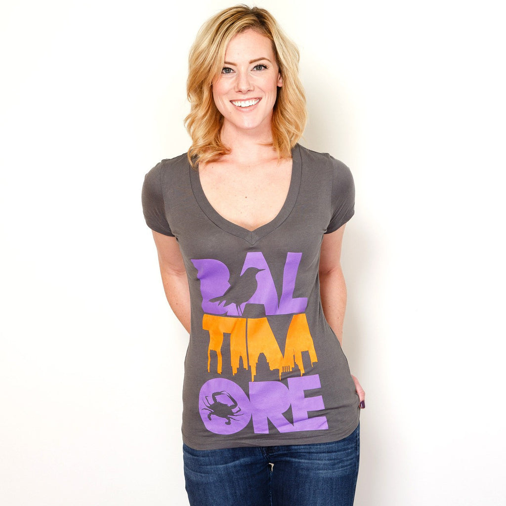 Baltimore Icon Orange & Purple (Grey) / Ladies V-Neck Shirt - Route One Apparel