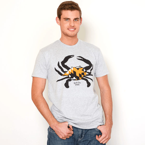 Black & Orange Maryland Crab (Heather Grey) / Shirt - Route One Apparel