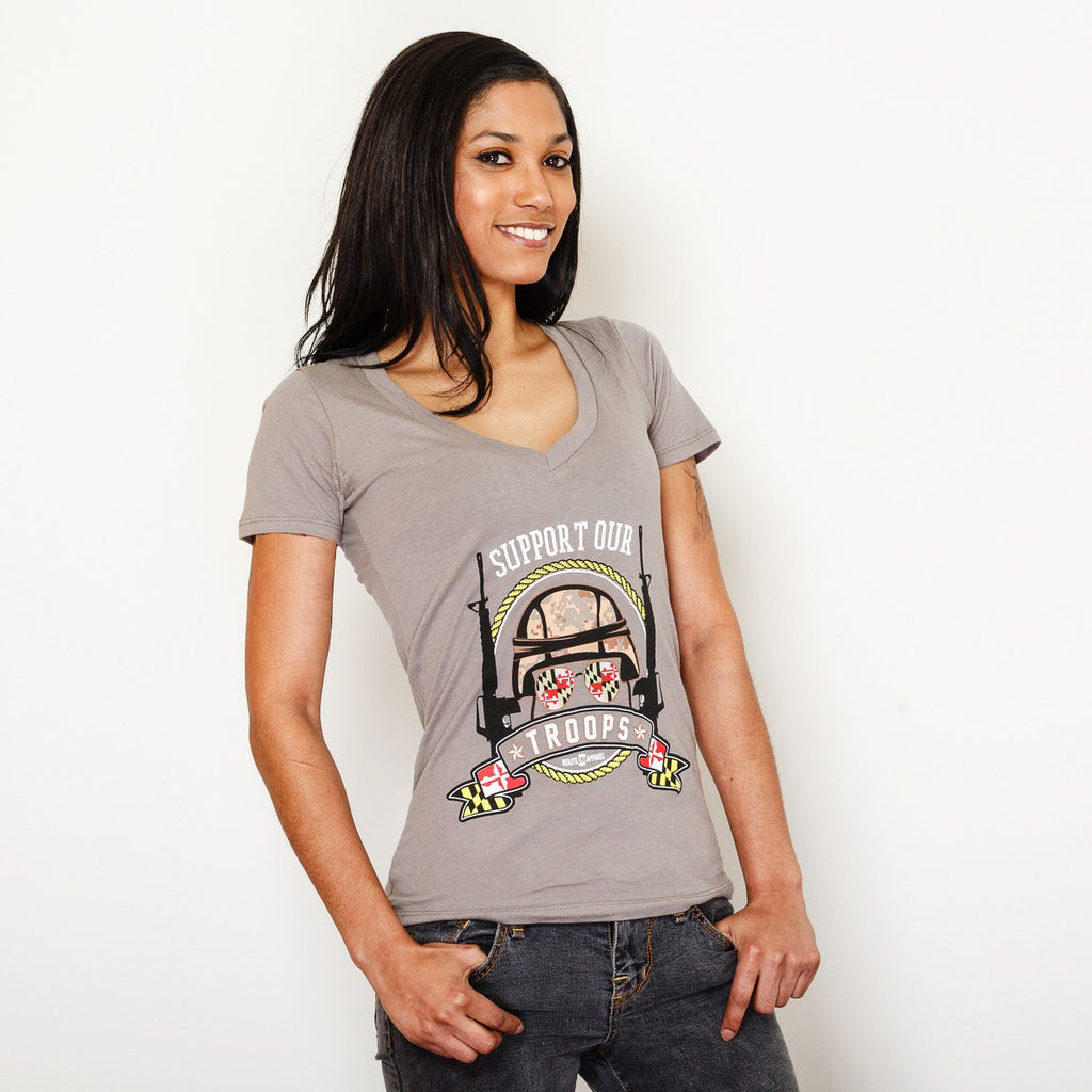 Support Our Maryland Troops / Ladies Sporty V-Neck Shirt