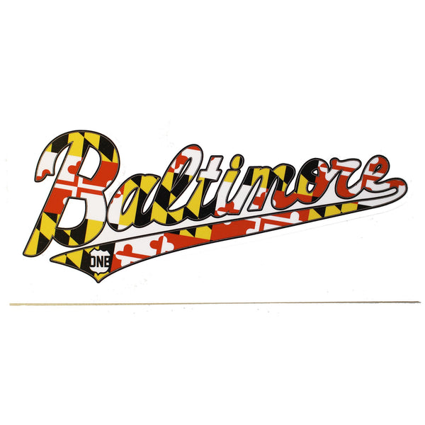 Baltimore jersey script with maryland flag sticker route one apparel