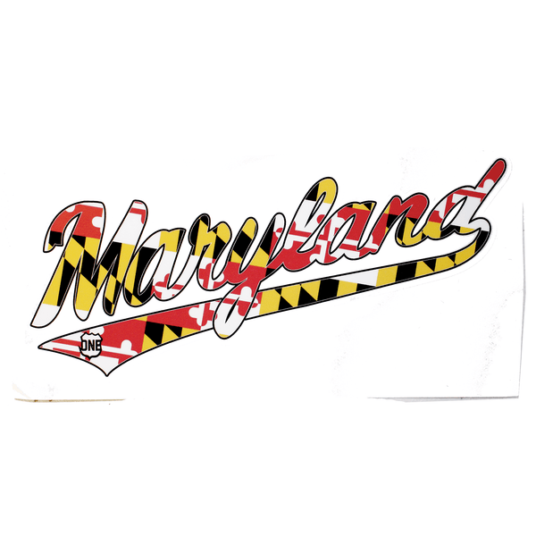 """Maryland"" Jersey Script with Maryland Flag / Sticker"