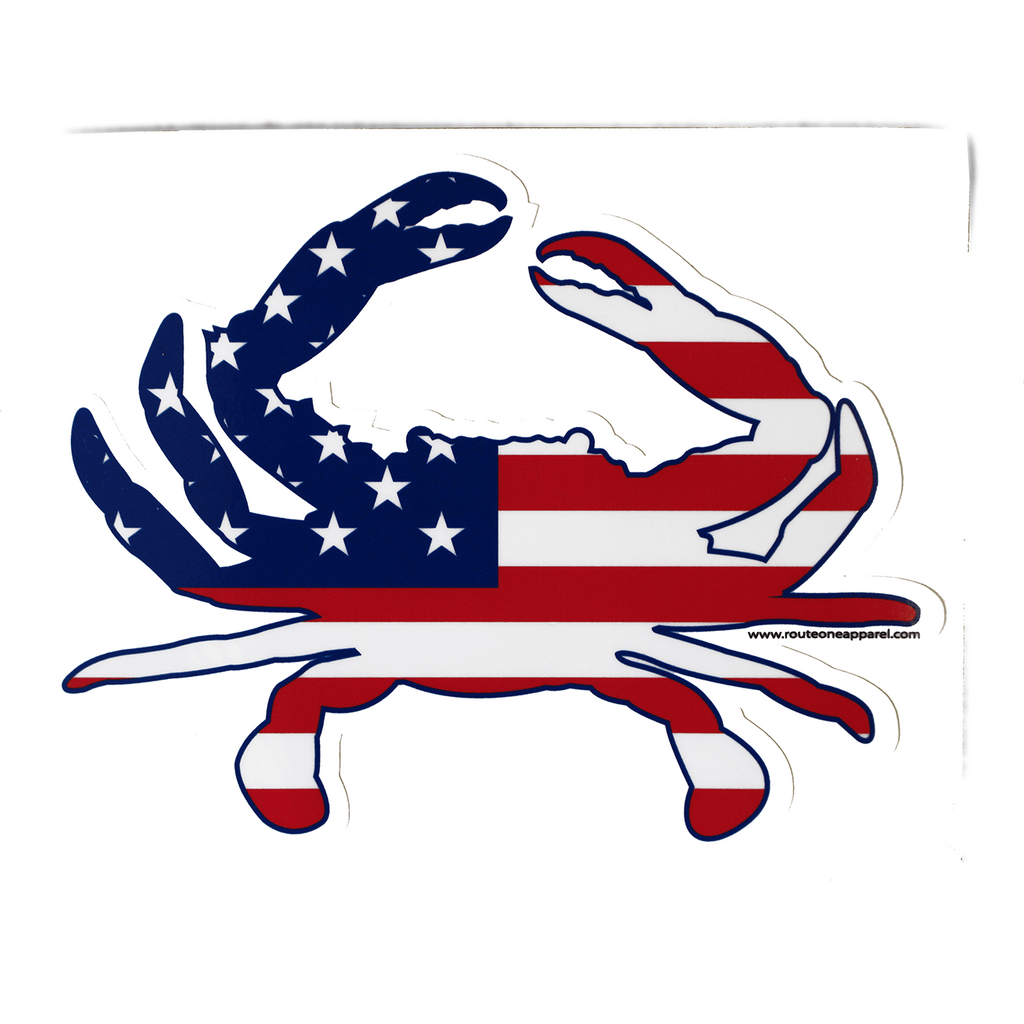 American Flag Crab / Sticker - Route One Apparel