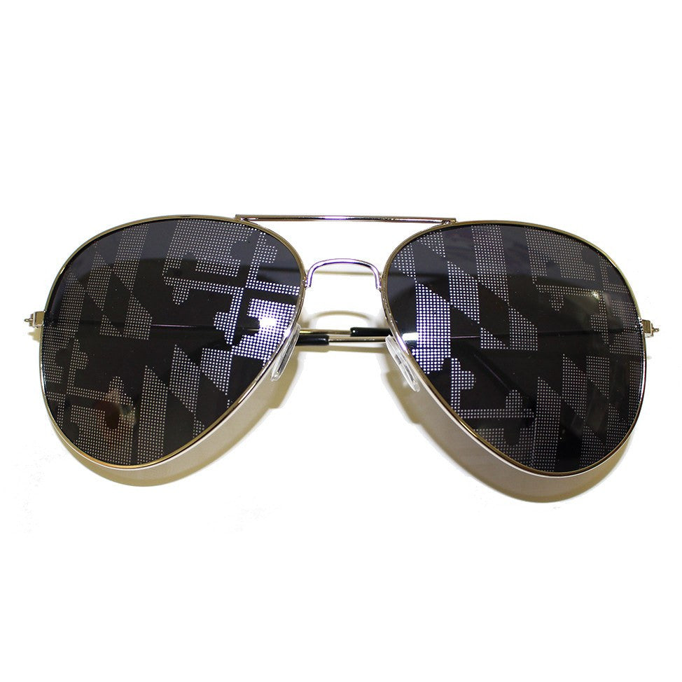 Maryland Flag (Greyscale)  / Aviator Sunglasses