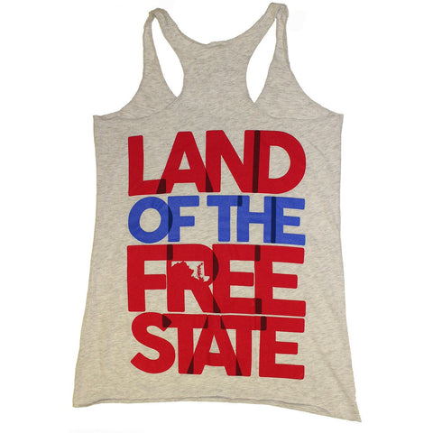 Land of the Free State (Heather Grey) / Ladies Racerback Tank