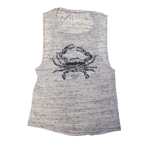 Nature Crab (White Marble) / Ladies Flowy Scoop Muscle Tank