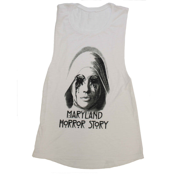 Maryland Horror Story (White Slub) / Ladies Flowy Scoop Muscle Tank