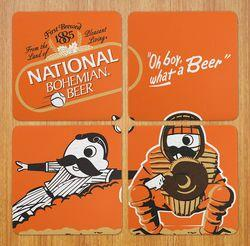 Bohtimore Baseball - National Bohemian (Orange) / 4-Piece Cork Coaster Set - Route One Apparel