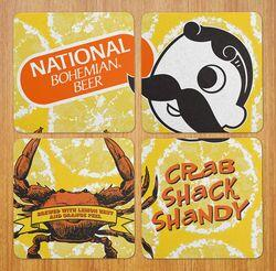 Crab Shack Shandy - National Bohemian (Yellow) / 4-Piece Cork Coaster Set - Route One Apparel