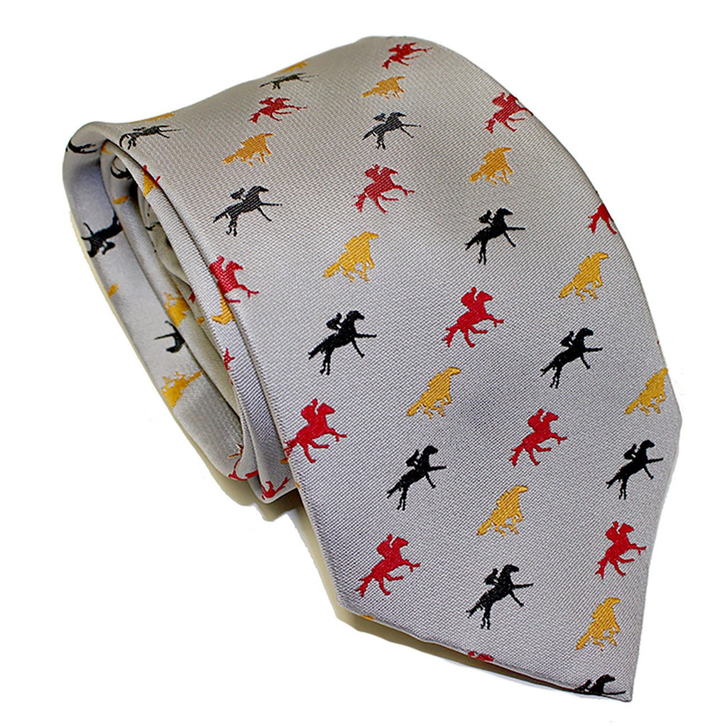 Embroidered Maryland Horse Racing (Silver) / Tie