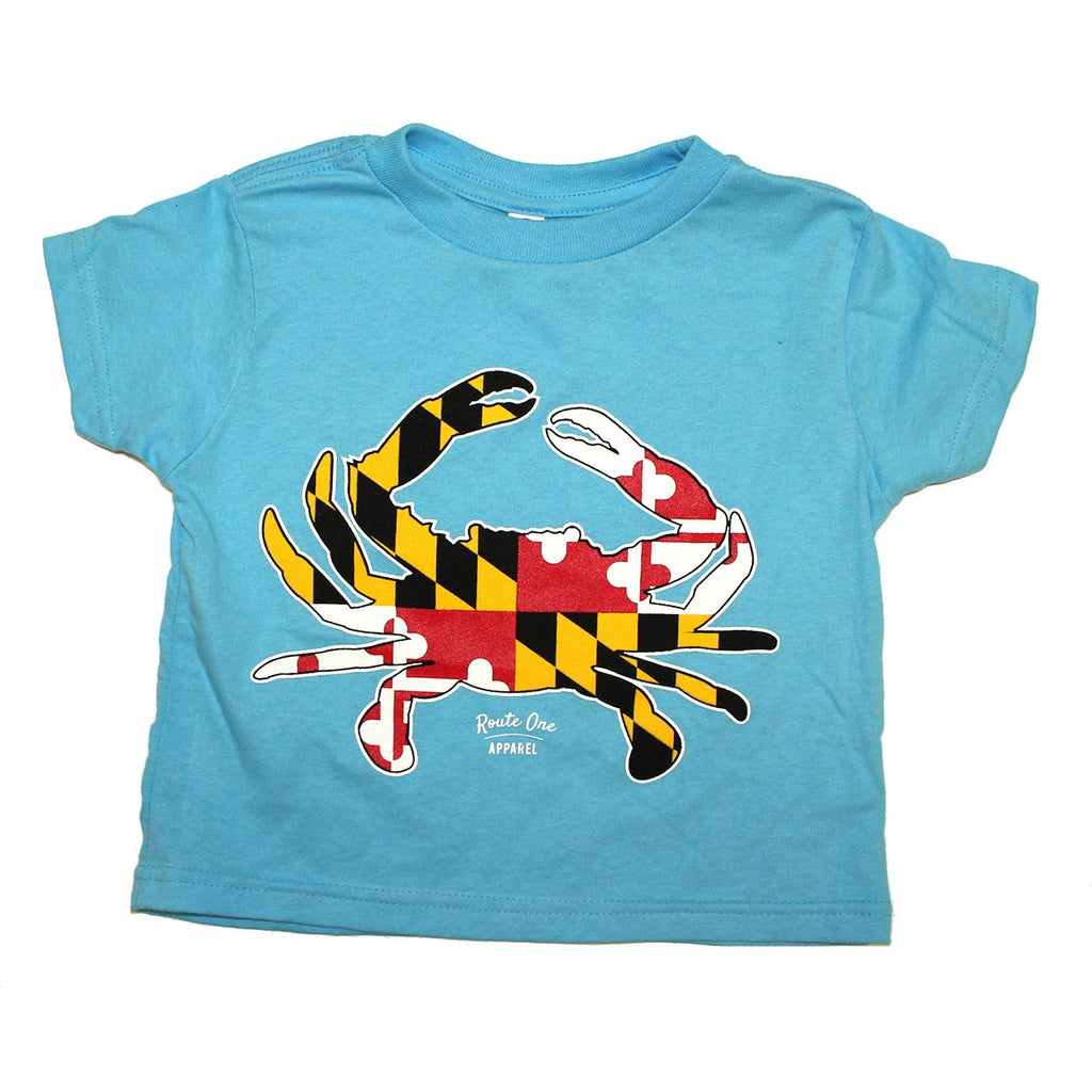 Maryland Full Flag Crab (Aqua) / *Toddler* Shirt