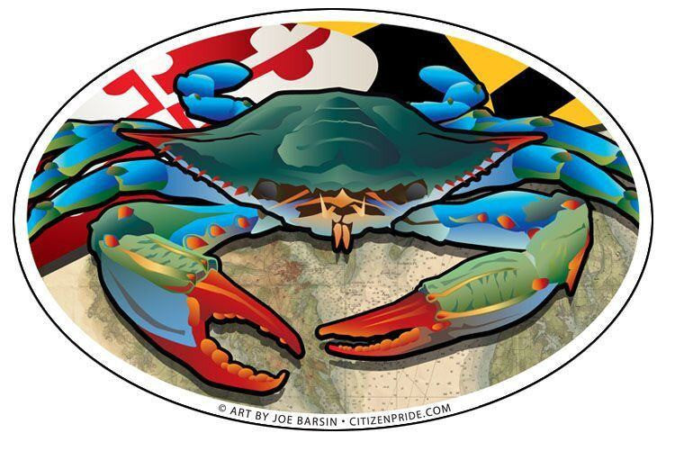 Maryland flag blue crab sticker