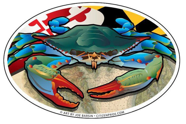 Maryland Flag & Blue Crab / Sticker