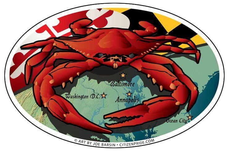 Maryland Flag & Red Crab / Sticker