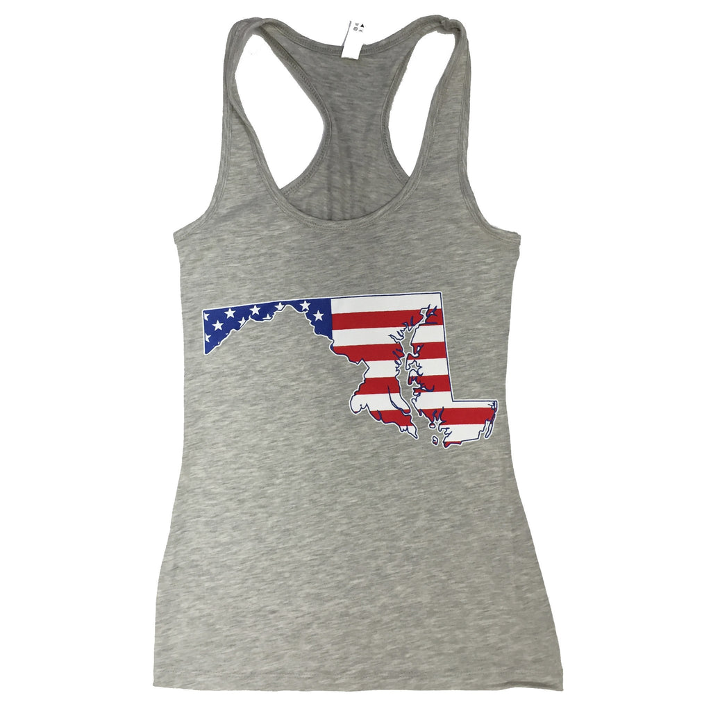 American State of Maryland (Heather Grey) / Ladies Racerback Tank - Route One Apparel