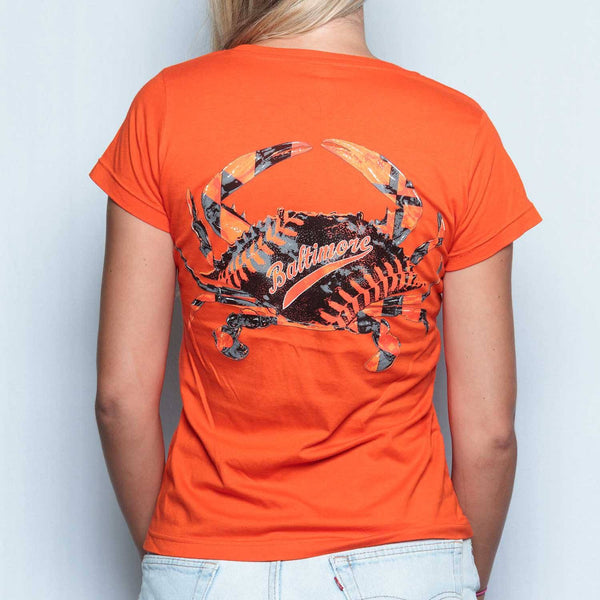 Baseball Home Team Crab *Back Print* (Orange) / Ladies V-Neck Shirt