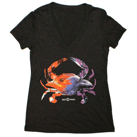 Baltimore Birds Crab (Black) / Ladies Deep V-Neck Shirt - Route One Apparel