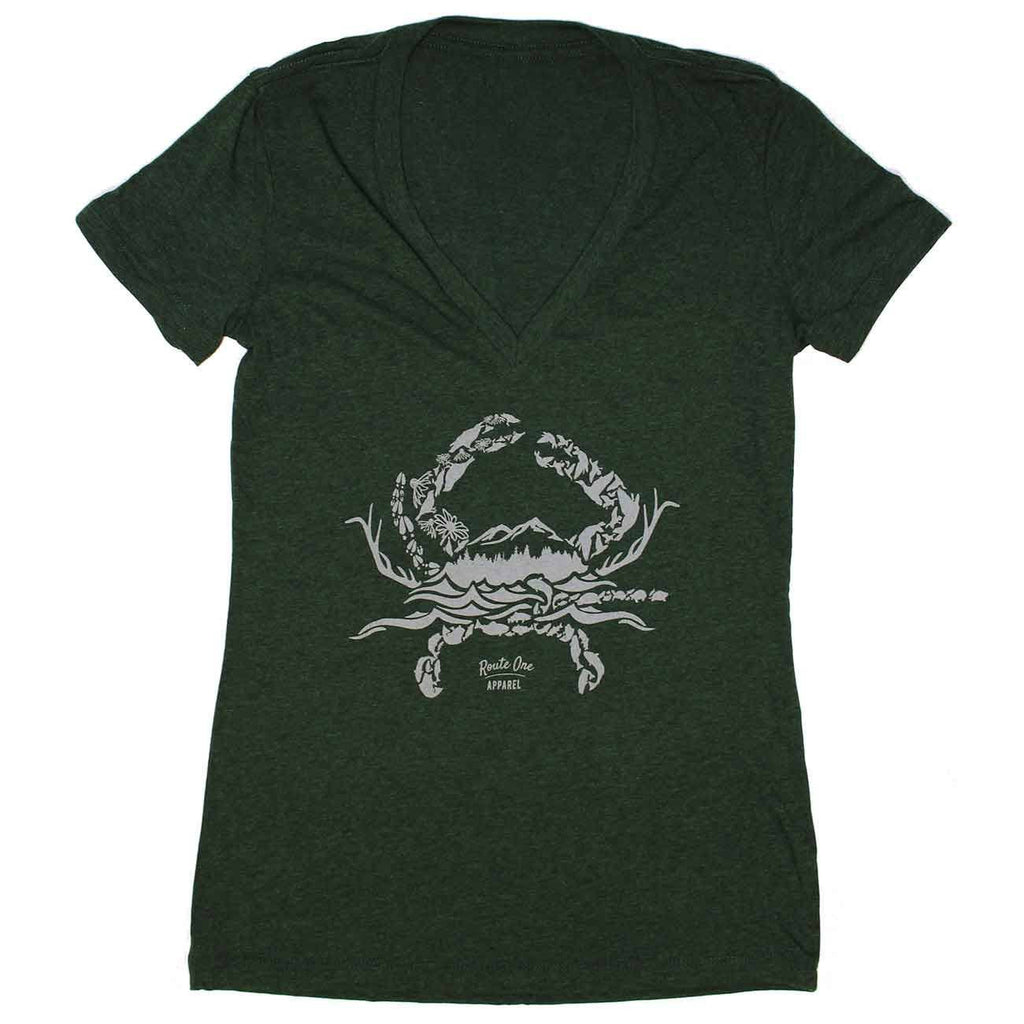 Nature Crab (Emerald) / Ladies Deep V-Neck Shirt