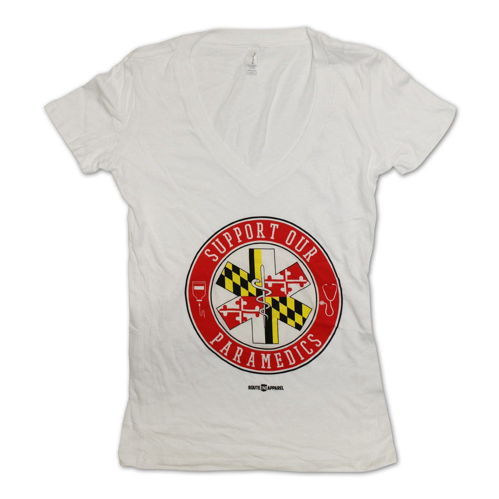 Support Our Maryland Paramedics / Ladies Sporty V-Neck Shirt