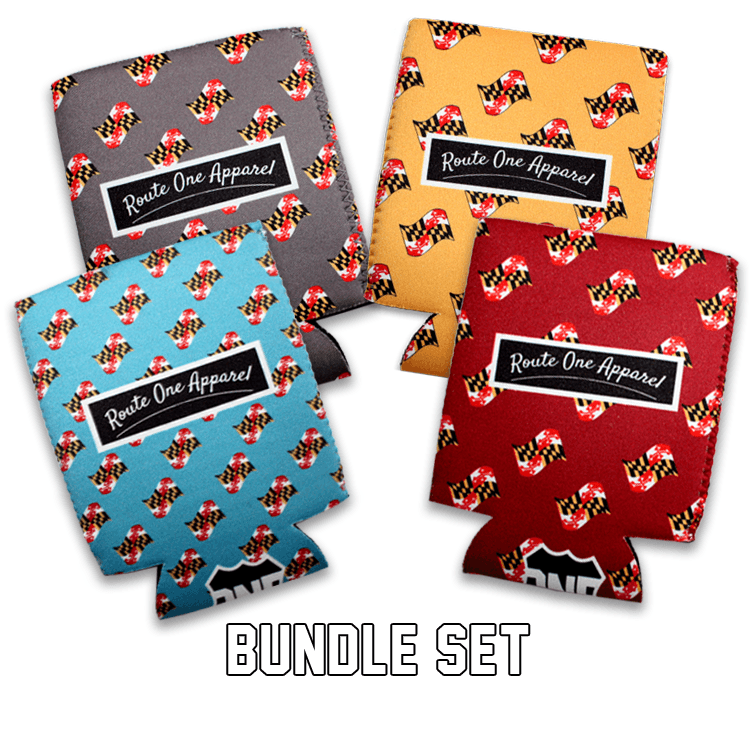 Waving Maryland Flag Pattern (Sky Blue, Grey, Yellow, & Burgundy) / Koozie *BUNDLE SET*