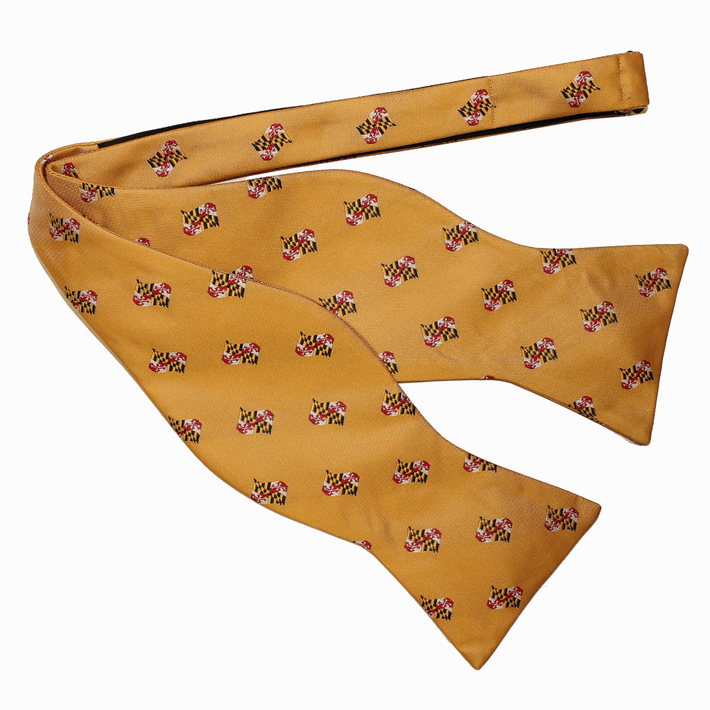 Embroidered Waving Maryland Flag (Gold) / Self-Tie Bowtie