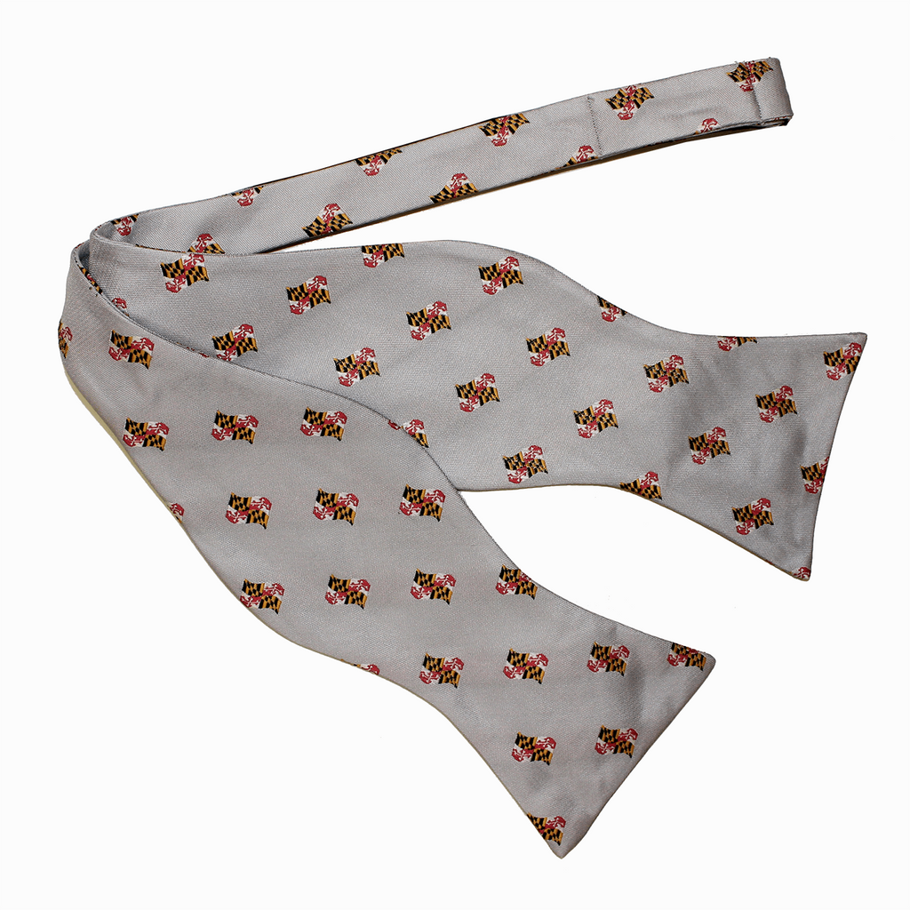 Embroidered Waving Maryland Flag (Silver) / Self-Tie Bowtie