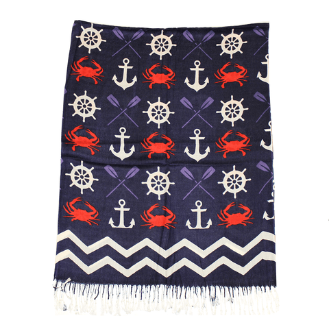 Chevron Crab and Anchor Design (Blue) / Scarf