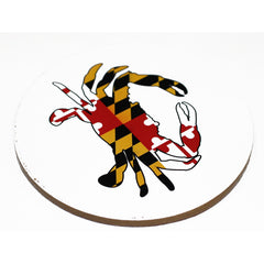 Maryland Full Flag Crab (White) / Cork Coaster