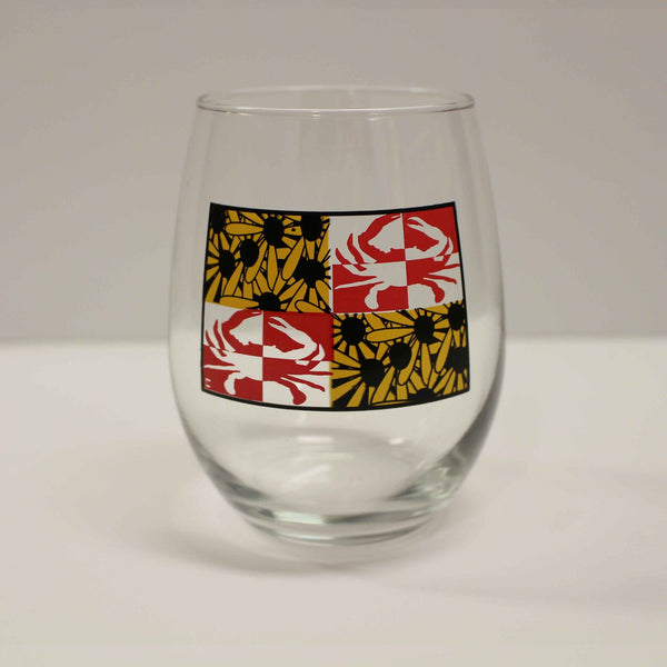 Crabby Susan Maryland / Stemless Wine Glass