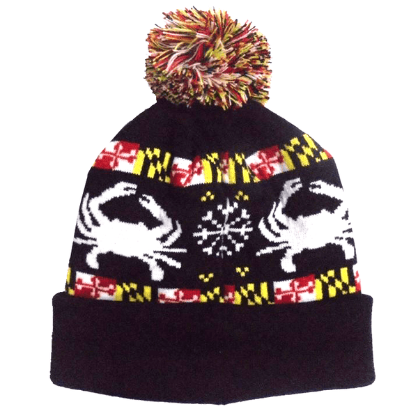 Maryland Flag Crab Black Knit Beanie Cap Route One Apparel