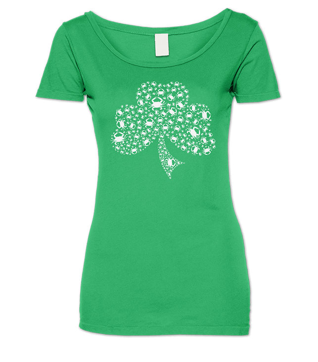 Crab Shamrock / Ladies Scoop Neck Shirt