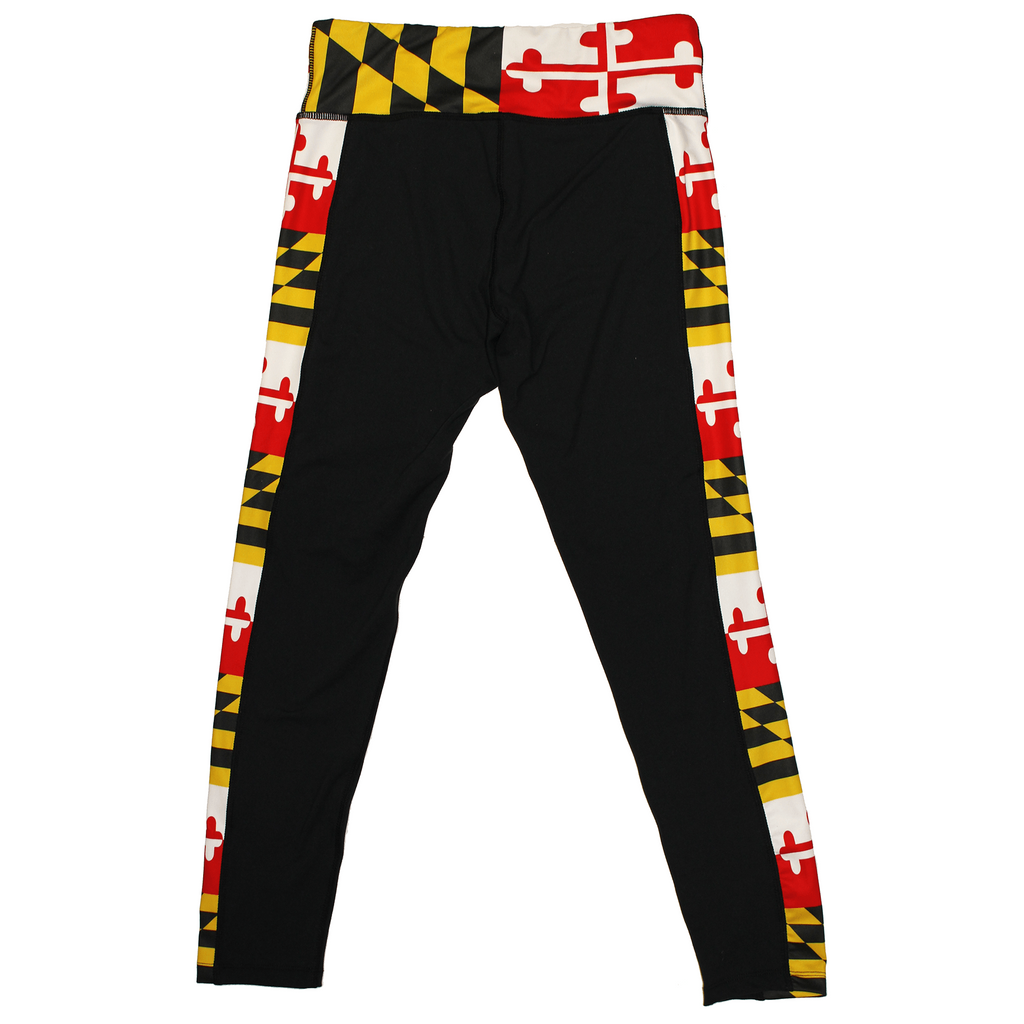 Maryland Flag Sides Black Yoga Leggings Route One Apparel