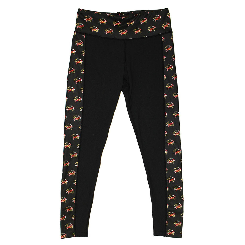 Maryland Flag Crab Pattern Sides (Black) / Yoga Leggings