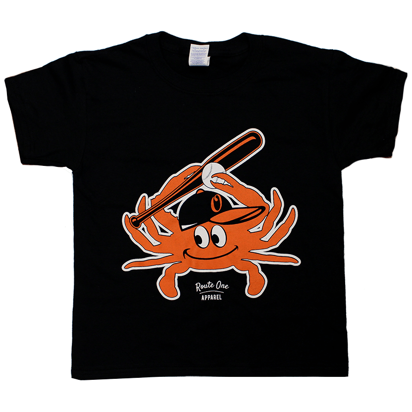Baseball Orange Crab (Black) / *Youth* Shirt - Route One Apparel