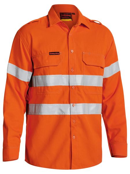 Bisley Tencate Tecasafe® Plus Taped Hi Vis Fr Vented Long Sleeve Shirt-(BS8081T)