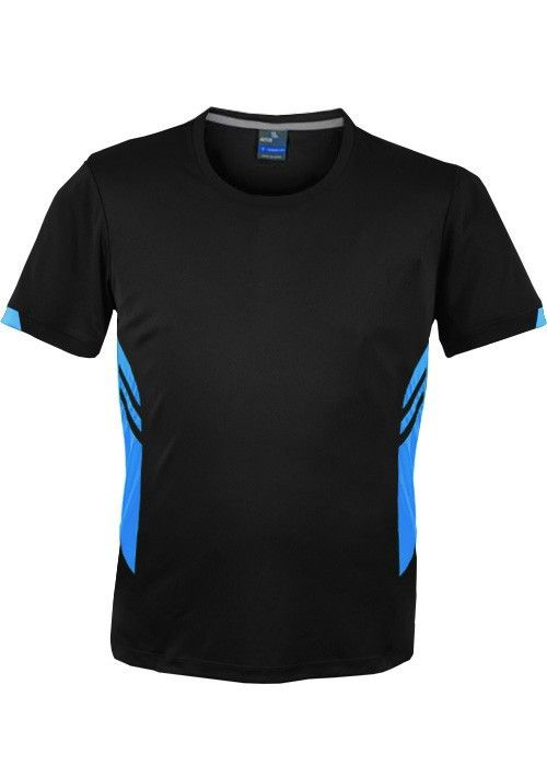 Aussie Pacific-Aussie Pacific Mens Tasman Tee-Black/Cyan / S-Uniform Wholesalers - 2
