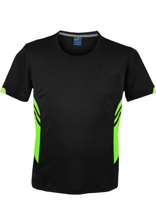 Aussie Pacific-Aussie Pacific Mens Tasman Tee-Black/Neon Green / S-Uniform Wholesalers - 3
