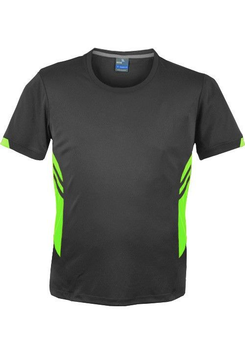 Aussie Pacific-Aussie Pacific Mens Tasman Tee(2nd 4 colors)-S / Slate/Neon Green-Uniform Wholesalers - 2