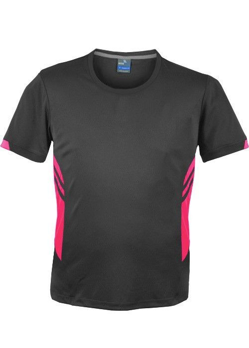 Aussie Pacific-Aussie Pacific Mens Tasman Tee(2nd 4 colors)-S / Slate/Neon pink-Uniform Wholesalers - 3