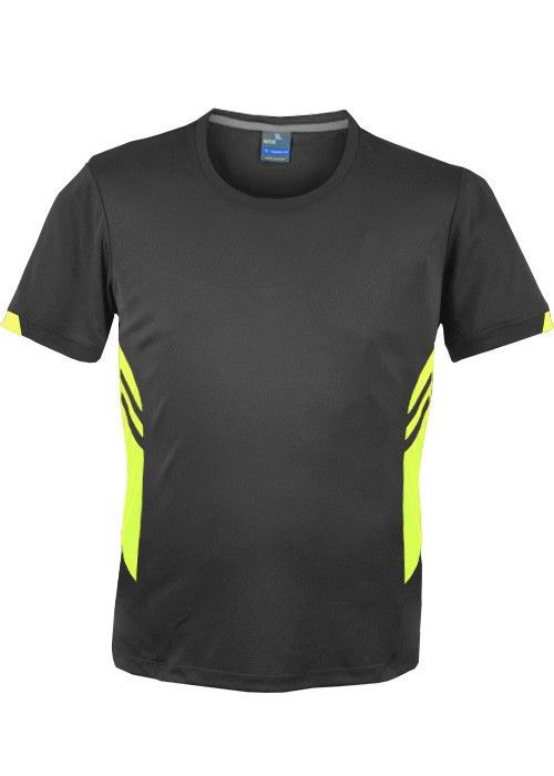 Aussie Pacific-Aussie Pacific Mens Tasman Tee(2nd 4 colors)-S / Slate/Neon Yellow-Uniform Wholesalers - 6