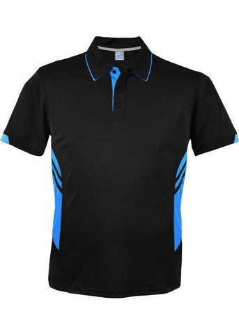 Aussie Pacific-Aussie Pacific Mens Tasman Polo( 1st 10 colors)-S / Black/Cyan-Uniform Wholesalers - 2