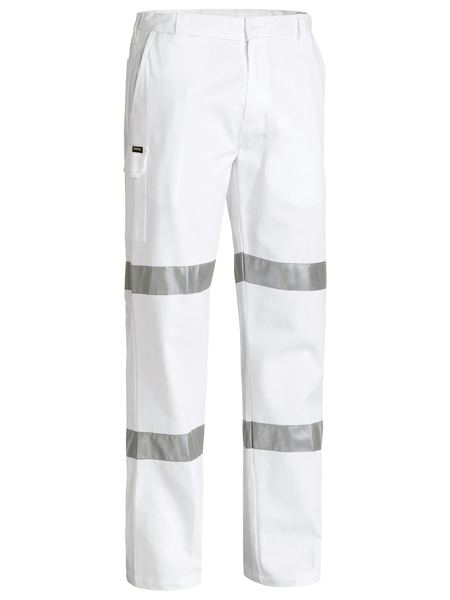 Bisley 3m Taped Cotton Drill White Work Pant-(BP6808T)