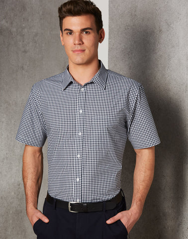 Winning Spirit Men's Gingham Check Short Sleeve Shirt (M7300S)